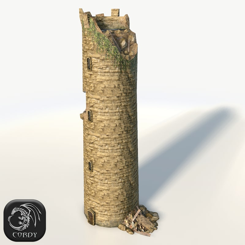 3d model old medieval stone tower