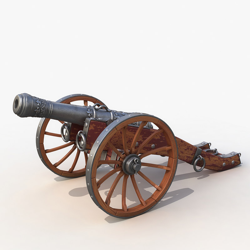 3d model medieval field cannon