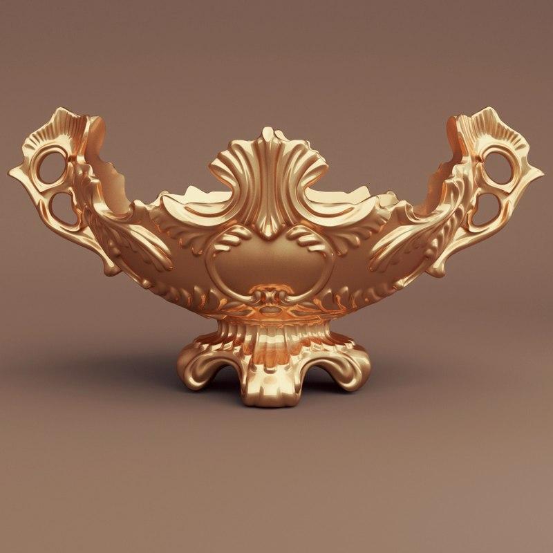 golden baroque vase 3d blend