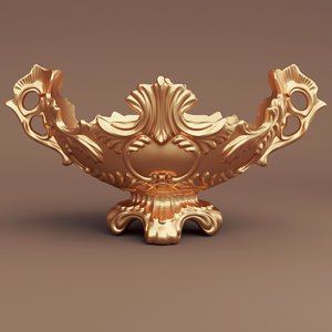 golden baroque vase 3d blend