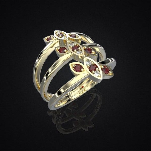 3dm ring delicate leaves 3