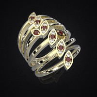 ring delicate leaves 2 3d model