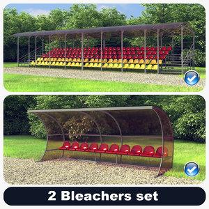 set 2 bleachers 3d max