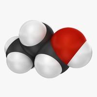 3d 1-propanol 3 model