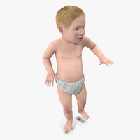 Small Baby Boy with Fur Rigged 3D Model