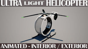 ultra light helicopter animation 3d model