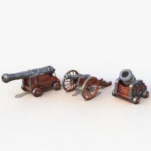 3d set cannons model