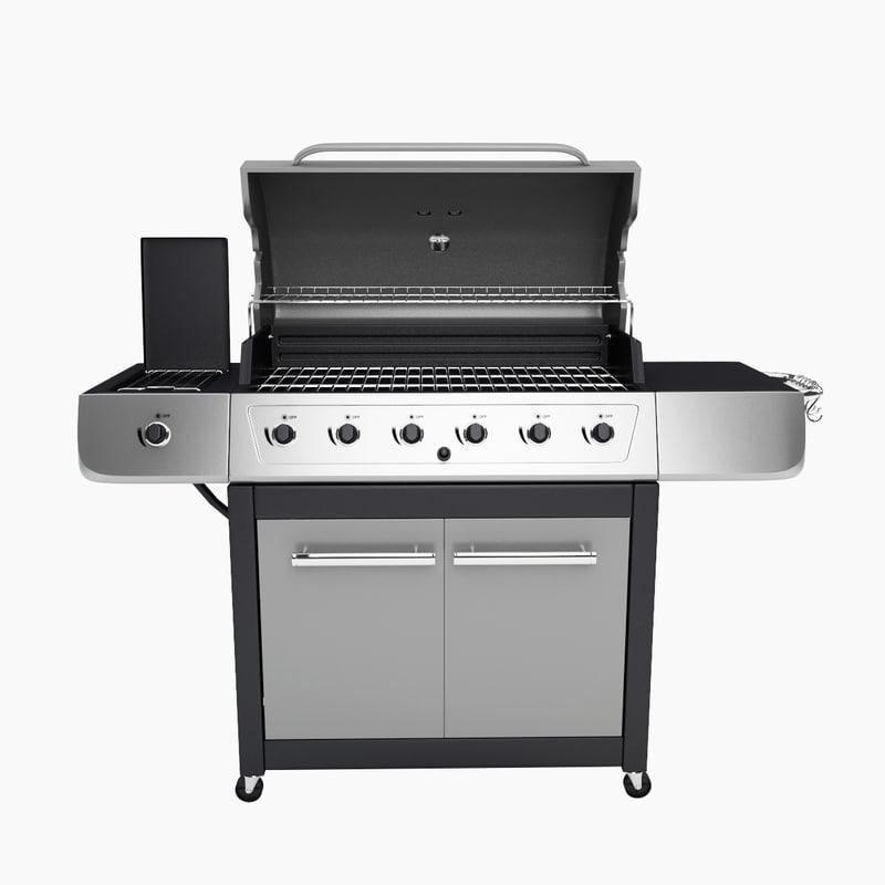 3d model of gas grill burner