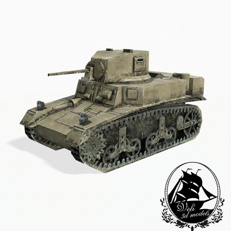 3d m3 stuart light tank model
