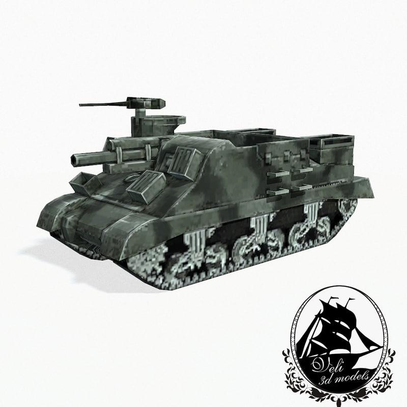 105 m7 artillery priest 3d model