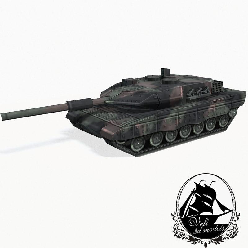 leopard 2 battle tank 3d model