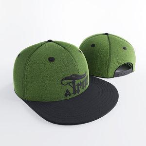 snapback green 3d obj