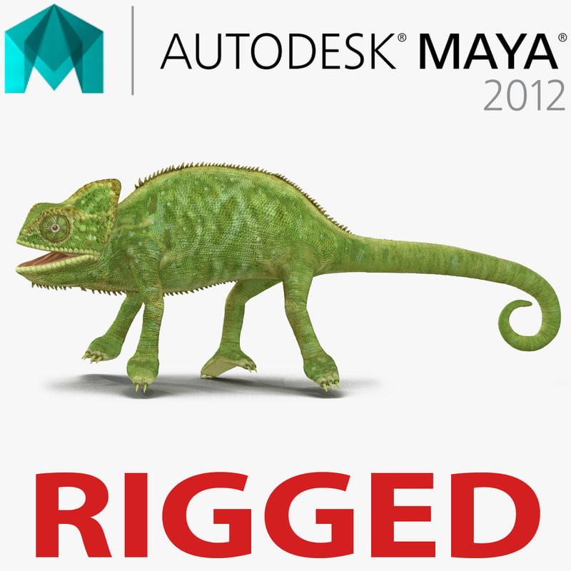 chameleon rigged 3d model