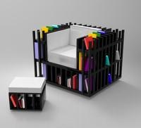 3d max books chair furniture