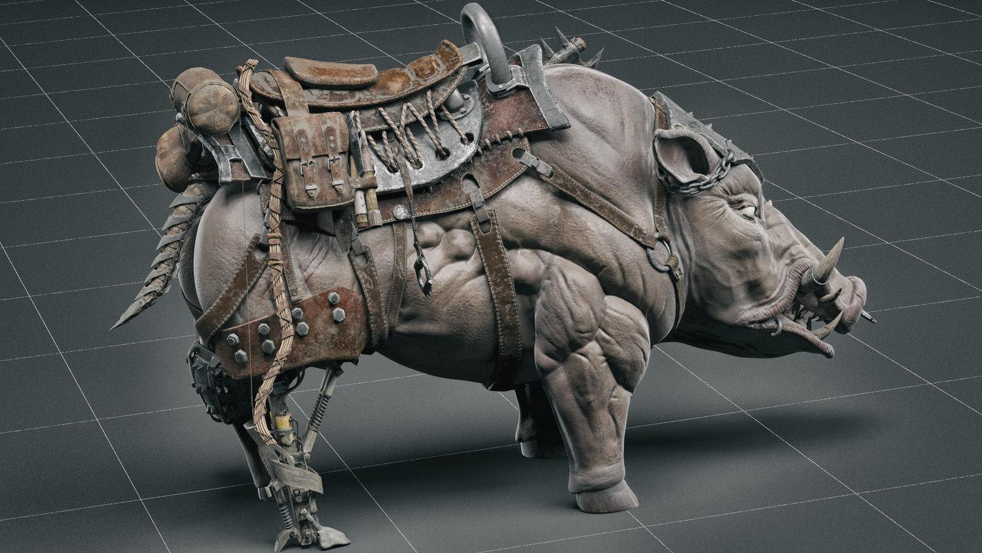 3d cybernetic boar