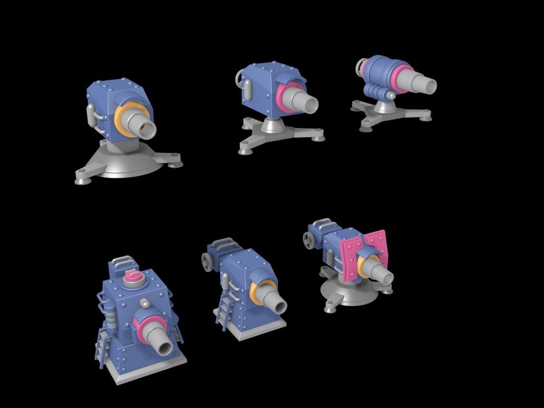 6 cannon 3d max