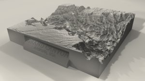 3d printable grand canyon landscape model