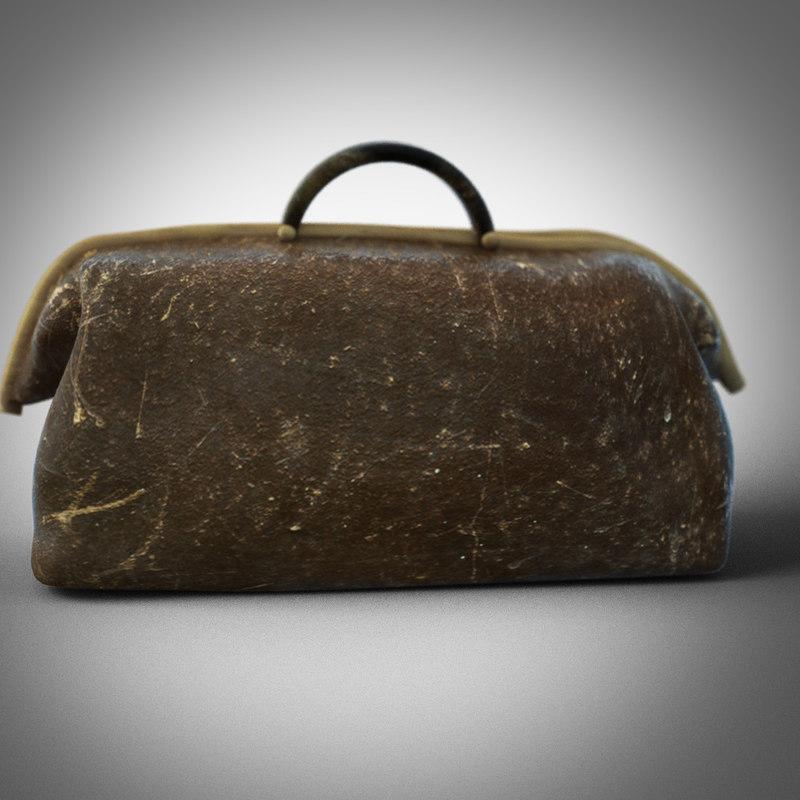 3d old travel case model
