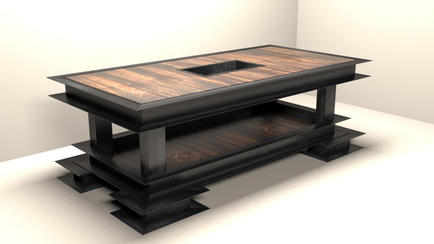 3d coffee table tv shelf model