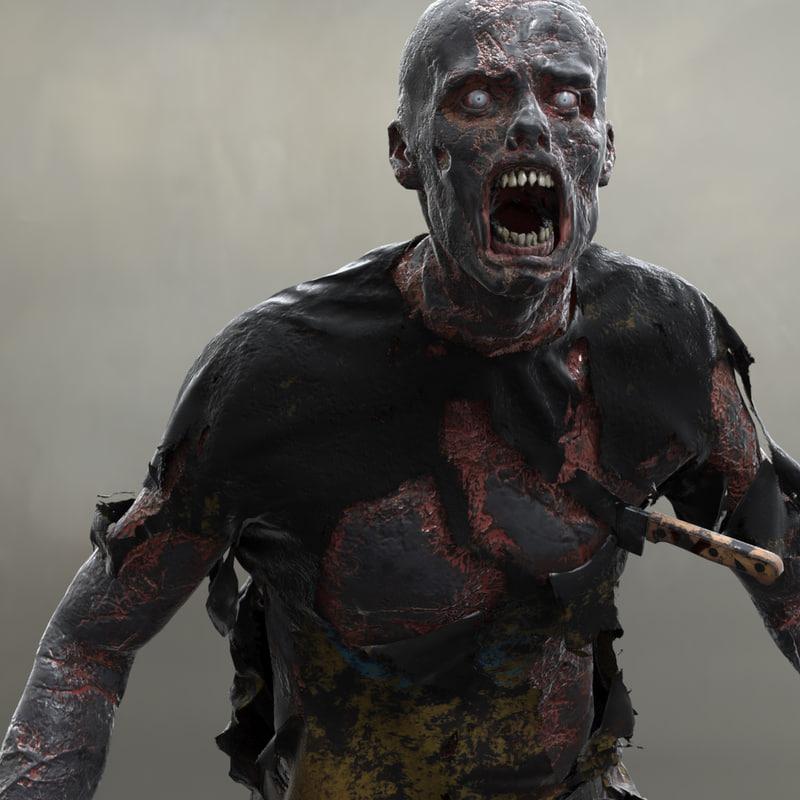 burned zombie 3d model