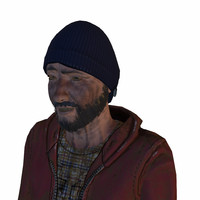 homeless hobo man 3d model