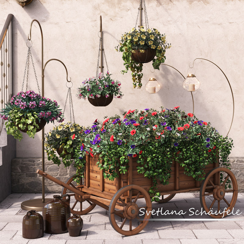 brackets flowers 3d max