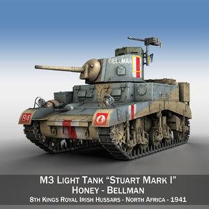 3d model british - m3 light tank