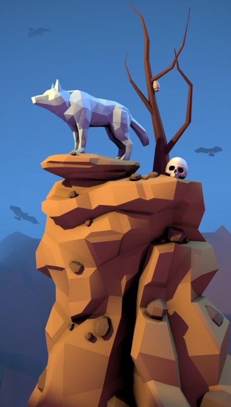 wolf desert 3d model