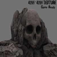 3d skull rock