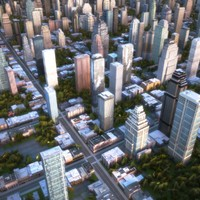 3d max cityscape scene highrise