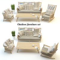 outdoor furniture set 3d model