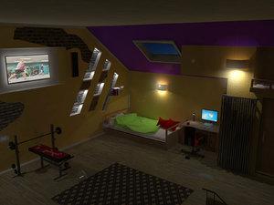 attic 3d 3ds