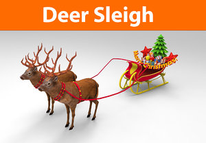 deer sleigh 3d model