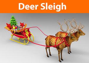 santa deer sleigh 3d max