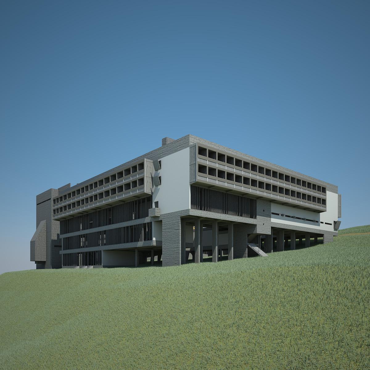 3d le corbusier monastery la model