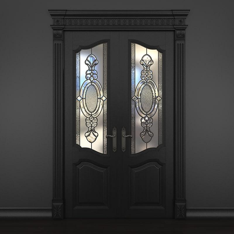 3d max door stained-glass dark