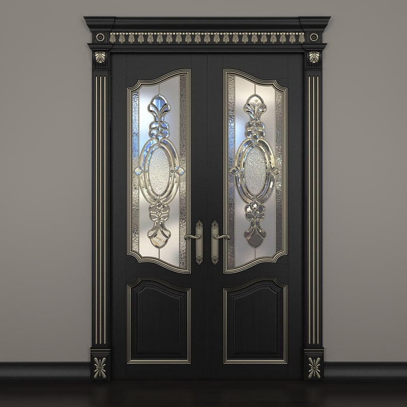 3d door glass dark gold model