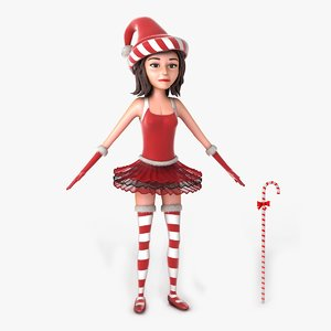 jill christmas elf rigged 3d model