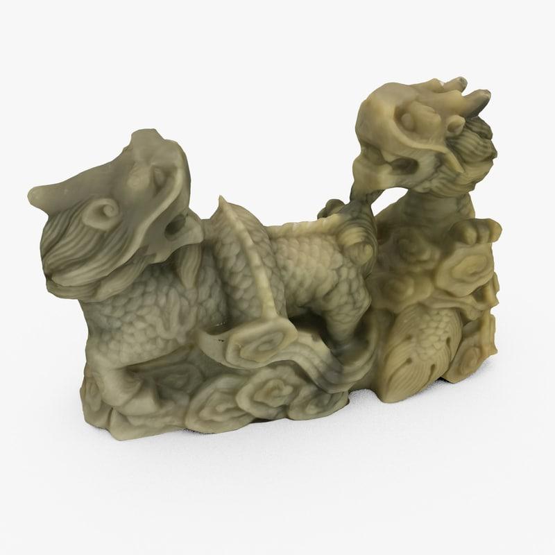intricate statuette dragons 3d c4d