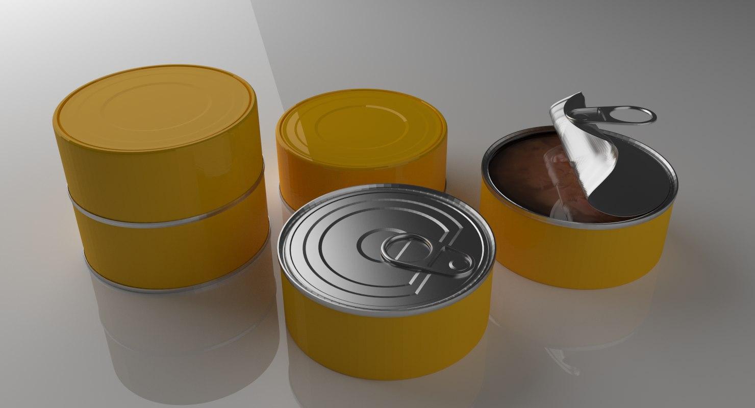 3d model tuna canned