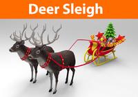 3d model deer sleigh
