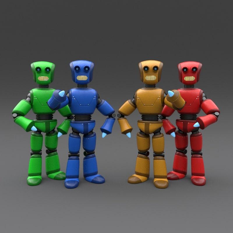 3d model robot rigged