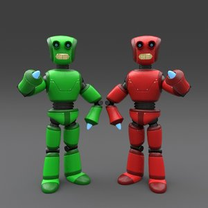 3d robot rigged model
