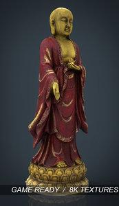 3d model of golden buddha