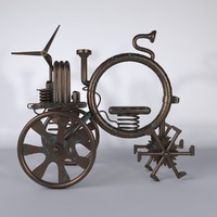 3d fantastic steampunk machine