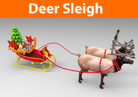 deer sleigh 3d model