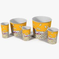 cups popcorn 3 3d model