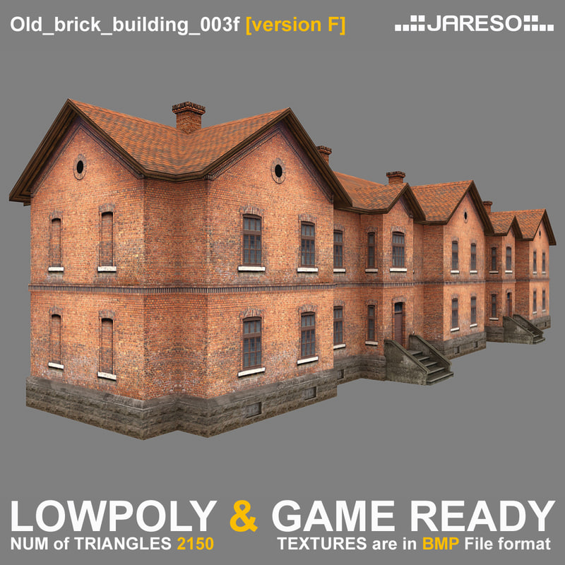 3d model two-floor old brick building games