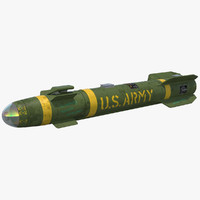 agm-114 hellfire missile 3d max