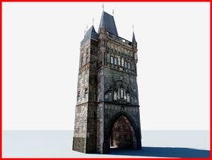 prague prag tower obj